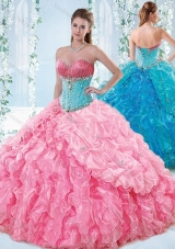 Exquisite Rose Pink Detachable Quinceanera Gown with Beading and Ruffles