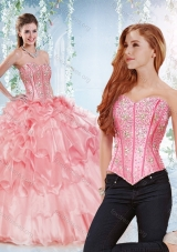 Modest Visible Boning Organza Detachable Quinceanera Dress with Beaded Bodice