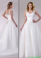 Designer A Line V Neck Court Train Bridal Dress with Beading and Sequins