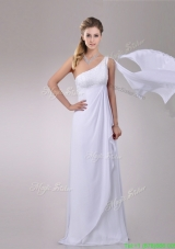 Designer Chiffon Watteau Train One Shoulder Wedding Dress with Beading