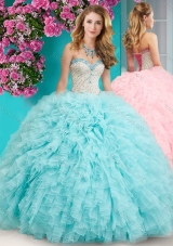 2016 Feminine Really Puffy Floor Length Quinceanera Dress with Beading and Ruffles