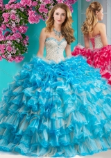 2016 Romantic Beaded and Ruffled Layers Quinceanera Dress with Really Puffy