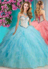 Affordable Beaded and Ruffled Organza Quinceanera Dress with Big Puffy