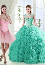 Elegant Beaded and Applique Detachable Quinceanera Dress in Rolling Flower