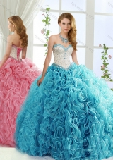 Modest Brush Train Beaded Baby Blue Detachable Quinceanera Dress in Rolling Flowers