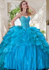 New Arrivals Pretty Beaded Bodice and Ruffled Quinceanera Dress in Tulle