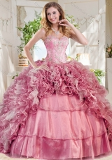 New Style Pretty Pink Quinceanera Dress with Beading and Ruffles