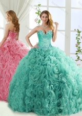 Popular Rolling Flower Mint Detachable Quinceanera Dresses with Brush Train