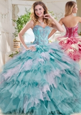 Pretty Beaded and Ruffled Big Puffy Quinceanera Dress in Blue and White