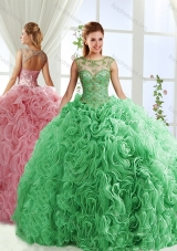 See Through Beaded Scoop Detachable Quinceanera Dresses with Rolling Flower