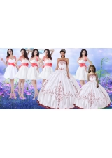 Classical Puffy Skirt Strapless Quinceanera Dress and Popular Embroidered Mini Quinceanera Dress and Best Red and White Short Dama Dresses