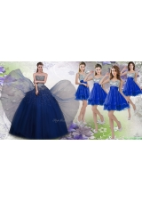 Gorgeous Beaded Navy Blue Quinceanera Dress and Fashionable Straps Sequined Dama Dress