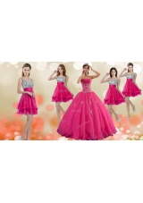 Luxurious Hot Pink Big Puffy Quinceanera Dress and Modest Sequined Straps Dama Dresses