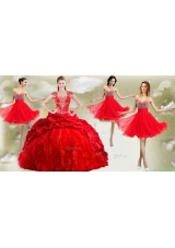New Arrivals Red Big Puffy Quinceanera Dress and Wonderful Rhinestoned and Ruched Dama Dresses