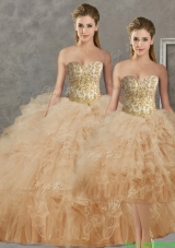 Wonderful Big Puffy Champagne Detachable Quinceanera Dresses with Beading and Ruffles