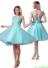 Classical See Through Bateau A Line Bridesmaid Dress with Beading