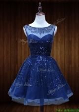 Lovely See Through Beaded Short Prom Dress in Royal Blue