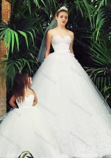 Most Popular Wedding Dresses with Appliques and New Style Applique Flower Girl Dress in White