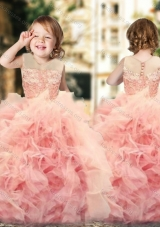 New Arrival Ruffled and Laced Little Girl Pageant Dress with See Through Scoop