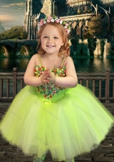 New Arrival Yellow Green Spaghetti Straps Little Girl Dress with Beading