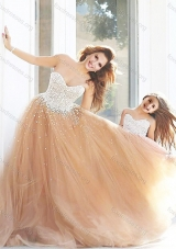 New Style Beaded Prom Dress with Brush Train and Cheap Sweetheart Little Girl Dress with Beading