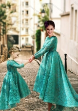 New Style Long Sleeves Prom Dress with Lace and Modest High Low Little Girl Dress with Half Sleeves