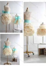 New Style Rolling Flowers Prom Dress with Sashes and Discount Scoop Little Girl Dress with Rolling Flowers