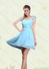 2015 A Line Straps Bridesmaid Dresses with Ruching and Bowknot