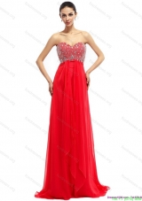 2015 Beading Sweetheart Ruching Bridesmaid Dresses with Brush Train