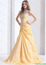 2015 Brush Train Gold Bridesmaid Dresses with Ruching and Beading