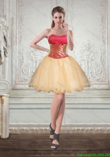 2015 Champagne Strapless Multi Color Short Bridesmaid Dresses with Beading and Embroidery