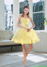 2015 Light Yellow Beading Puffy Bridesmaid Dresses with Sweetheart