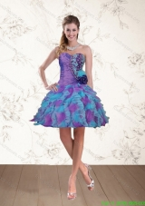 2015 Spring Sweetheart Beaded Multi Color Bridesmaid Dresses with Hand Made Flower