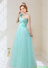 New Arrival 2015 Fall Empire Lace Up Hand Made Flowers Bridesmaid Dresses in Mint