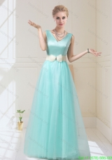 Pretty V Neck Floor Length Bridesmaid Dresses with Bowknot for 2015 Fall