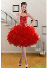 2015 Pretty Sweetheart Ruffled Red Prom Gown with Beading