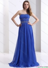 Delicate 2015 Strapless Prom Dress with Ruching and Beading