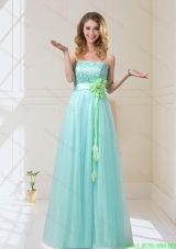 New Style 2015 Summer Empire Strapless Prom Dresses with Hand Made Flowers
