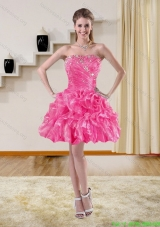 2015 Beautiful Beaded Strapless Prom Dresses with Ruffles