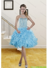 2015 Beautiful Sweetheart Knee Length Prom Gowns with Beading