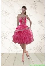 2015 Coral Red Strapless Prom Dresses with Beading and Ruffles