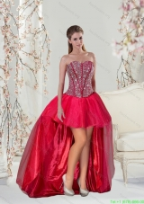 2015 Fashionable High Low Beading Red Prom Dresses