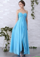 2015 Gorgeous Long Prom Dresses with Ruching and Beading