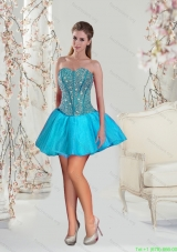 2015 New Style Beading Prom Dresses in Aqua Blue
