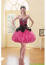 2015 Newest Puffy Appliques Multi Color Prom Dresses in Black