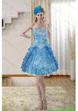 2015 Popular Sweetheart Blue Prom Dresses with Embroidery