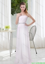 2015 Simple Empire Ruching Prom  Dresses in White