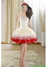 2015 Spring Fashionable Beading Short Prom Dresses with Sweetheart