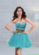 Aqua Blue Beaded Leopard Printed Perfect Prom Dress for 2015