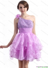 One Shoulder Lilac Prom Dresses with Beading and Hand Made Flower